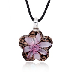 Flower-shaped Inner Flower Glass Necklace Pink