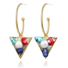 fashion triangle shell pearl earrings green