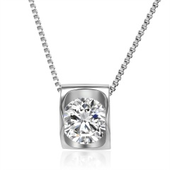 Simple Square Crystal Necklace Square Crystal