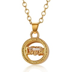 Crystal Hollow Love Necklace Gold Love