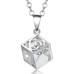 Crystal Square Hollow Love Necklace Square Crystal
