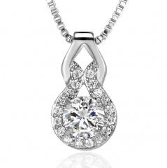 Fashion Zircon Gourd Shaped Pendant Necklace White