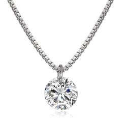 Simple Round Zircon Pendant Necklace white
