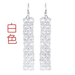 Geometric Crystal Handmade Earrings White