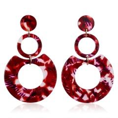 Geometric Round Circle Acetate Earrings Red