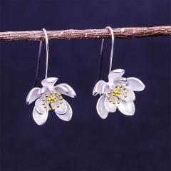 Silver Flower Three-dimensional Earrings Lotus