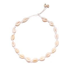 Shell hand woven necklace short card necklace beige