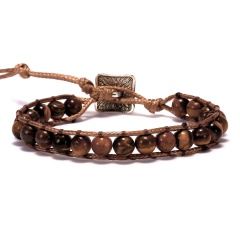 7 Chakras Hand Knitted Adjustable Bracelet Brown