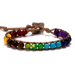 7 Chakras Hand Knitted Adjustable Bracelet Colorful 1