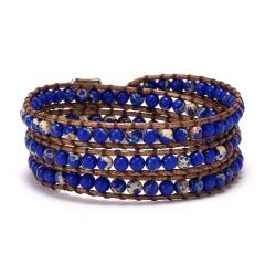Three Layers Seven Chakras Hand Woven Slipknot Adjustable Bracelet blue