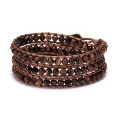 Three Layers Seven Chakras Hand Woven Slipknot Adjustable Bracelet brown