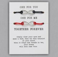 paper card braided adjustable bracelet set Infinite Black & Red