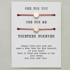 paper card braided adjustable bracelet set Round Red