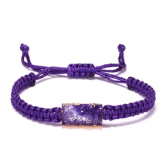 5 Colors Adjustable Rope Bracelet Geometric Square Druzy Stone Bracelet Faux Resin Stone Bracelet Jewelry for Women Girl Gift PURPLE