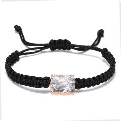Colorful Resin Natural Stone Square Pendant Bracelet Hand Woven Adjustable Rope Charm Bracelets Women Men Fashion Jewelry Gift BLACK