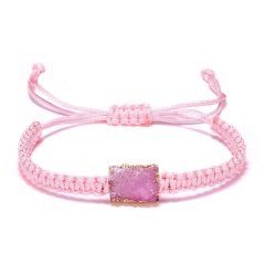Colorful Resin Natural Stone Square Pendant Bracelet Hand Woven Adjustable Rope Charm Bracelets Women Men Fashion Jewelry Gift PINK