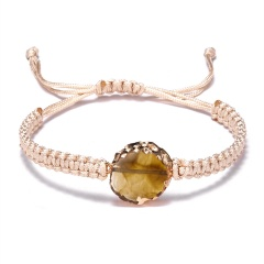 Trendy Couple Jewelry 5 Colors Natural Stone Woven Charm Bracelet Adjustable Handmade Geometric Round Vintage Resin Bracelet YELLOW