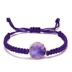 Trendy Couple Jewelry 5 Colors Natural Stone Woven Charm Bracelet Adjustable Handmade Geometric Round Vintage Resin Bracelet PURPLE