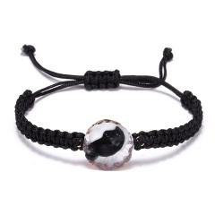 Trendy Couple Jewelry 5 Colors Natural Stone Woven Charm Bracelet Adjustable Handmade Geometric Round Vintage Resin Bracelet BLACK