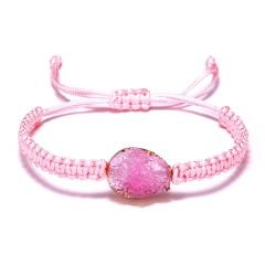 Vintage Oval Resin Crystal Stone Bracelet for Men Women Trendy Pink Black String Braided Charm Bracelets Couple Jewelry Wholesale PINK