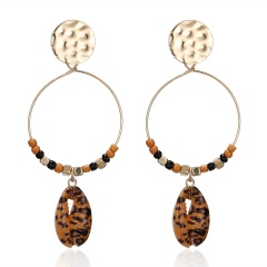 Round Rice Beads Leopard Print Shell Earrings Leopard Print Shell