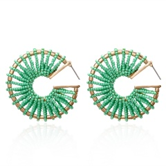 C-shaped rice beads hand-wound braided stud earrings green
