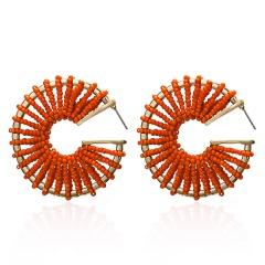 C-shaped rice beads hand-wound braided stud earrings orange