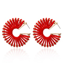 C-shaped rice beads hand-wound braided stud earrings red