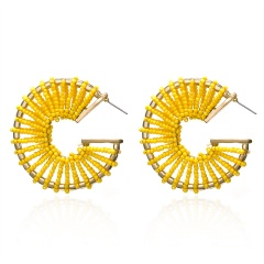C-shaped rice beads hand-wound braided stud earrings yellow