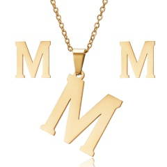 Stainless Steel Letter Necklace Earrings M