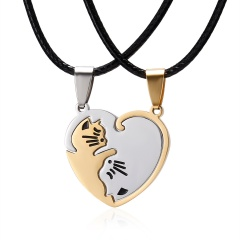 Heart Lover YinYang Cat Gold White