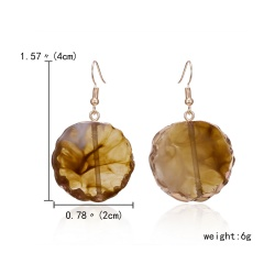 Unique Natural Stone Drop Earrings For Women Bohemia Jewelry Minimalist Resin Geometry Round Hanging Earrings Brincos Wholesale Yellow