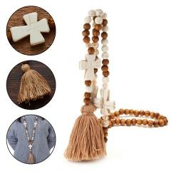 Handmade Wooden Beads Tassel Pendant Cross