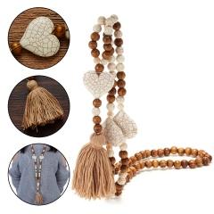 Handmade Wooden Beads Tassel Pendant Love