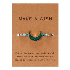 moon hand-woven paper card bracelet Green