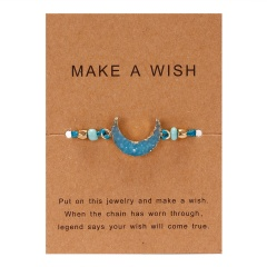moon hand-woven paper card bracelet light blue