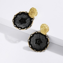 Fashion Boho Geometric Round Dreamcatcher Stud Earrings Dangle Drop Women's Gift Black