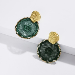 Fashion Boho Geometric Round Dreamcatcher Stud Earrings Dangle Drop Women's Gift Green