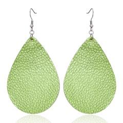 Womens Handmade Teardrop Leather Earrings Ear Stud Hook Drop Dangle Jewellery Green