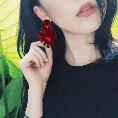 Banana Leaf Acetate Earrings Red