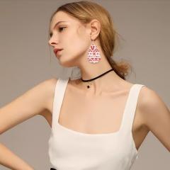 Christmas leather earrings Pull flower