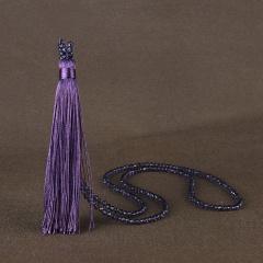 Fashion Women Tassel Pendant Crystal Beads Long Chain Sweater Necklace Jewellery Purple