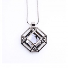 Fashion Korean Square Hollow Sweater Pendant Necklaces Clothing Chain Women Gift Gray