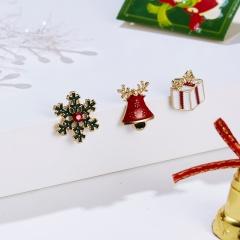 3Pcs Card Set Christmas Snowman Enamel Brooch Pin Collar Badge Jewelry Xmas Gift Christmas bell Gifts