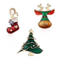 3Pcs Card Set Christmas Snowman Enamel Brooch Pin Collar Badge Jewelry Xmas Gift Christmas tree elk sock