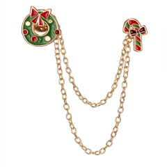Christmas Bell Tassel Dorp Snowman Brooch Pin Collar Badge Jewelry Party Gifts Christmas Wreath crutches