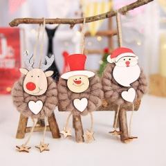 3PCS Cute Christmas Party Hanging Decor Santa Claus Snowman Deer Xmas Ornaments Coffee