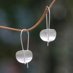 Retro Silver Flower Earrings Women Wedding Party Jewelry Silver