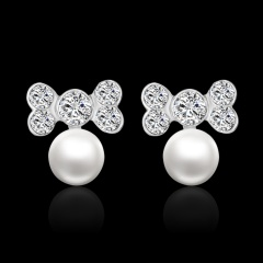 Fashion Water Drop Triangle Crown Bow Star Pearl Rhinestone Ear Stud Earrings Women Bow