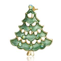 Christmas Bell Snowflake Garland Wreath Snowflake Crystal Enamel Brooch Pin Xmas Chrisrmas Tree